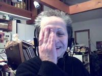 Sophie cracking up on webcam