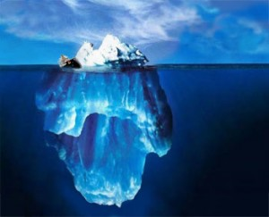 iceberg or what's below the sea level is more important to what's above: it can sink you