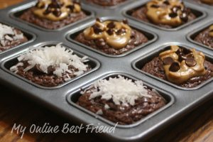 Brownie cups with coconut and chocolate chips 12-2-2011 9-04-27 PM