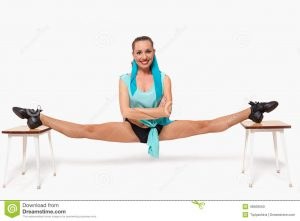 girl-sits-pose-twine-two-stools-white-46509550