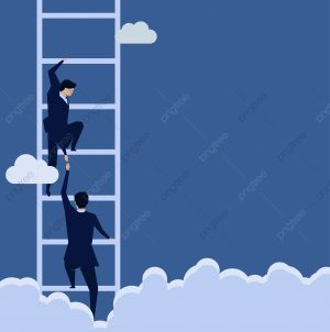 climb the ladder with one hand, reach down with the other