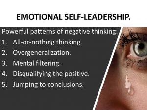 Powerful patterns of negative thinking: All-or-nothing thinking. Overgeneralization. Mental filtering. Disqualifying the positive. Jumping to conclusions.