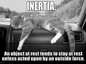 inertia renders you not moving aka stuck