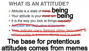 attitude is a state of being. All actions come from it.