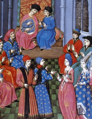 Medieval miniature. Meeting of the Roman Senate. Discussion on marriage between a plebeian woman and a roman patrician. 15th century.